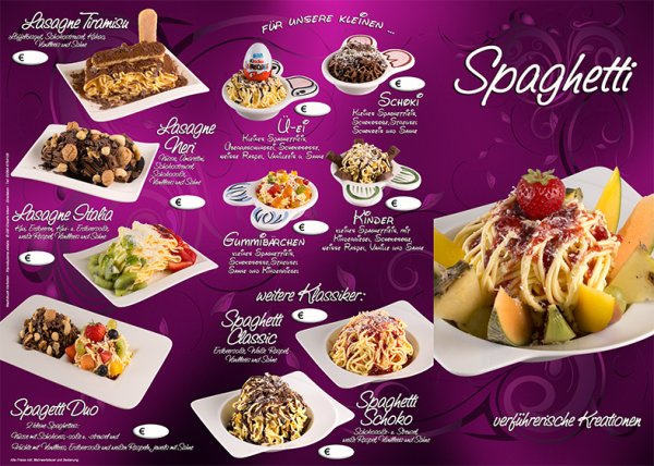 Spaghettikarten 6 seitig Lila
